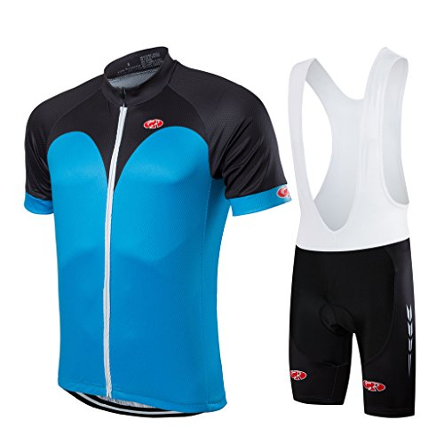 - FASTCURE Pro Team Men's Short Sleeve Cycling Jersey and 3D Padded Bib Shorts Set Size L