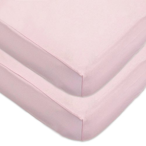 American Baby Company 2 Pack 100% Cotton Value Jersey Knit Fitted Crib Sheet for Standard Crib and Toddler Mattresses, Pink, for - Trim Minky Chenille
