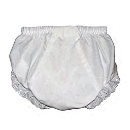 Baby Diaper Covers Embroider Blank Bloomers- White - 6 months
