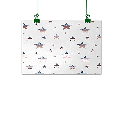 - Unpremoon 4th of July Wall Artwork Scattered Stars with American Flag Motifs Independence Day Theme Canvas Art for Wall Ruby Navy Blue White W 32