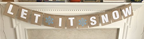 LET IT Snow Christmas Banner - Ready to Hang Holiday Decor - Festive Burlap Seasonal Winter Decoration - Frozen Theme Party Decorations - Rustic Snowflake Bunting Garland Flag - by Jolly Jon ®