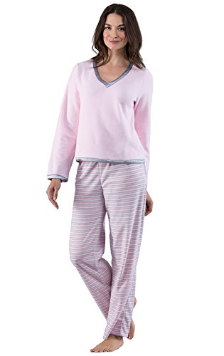 PajamaGram Soft Pullover Women's Fleece Pajama Set, Pink/Gray Stripe, XLG (16) Xlg Satin
