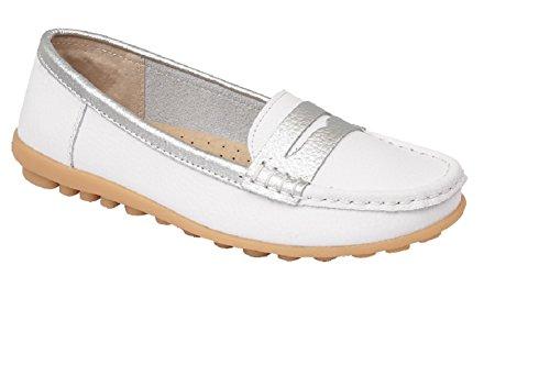 Damenslipper, bequeme Sommerschuhe aus Leder weiß / silber