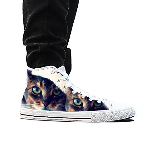 Sneakers, Custom Kat Ogen Hoge Top Canvas Schoenen Klassieke Casual Mode Kleurrijke Man Wit