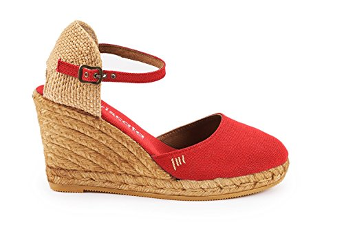 Closed Ankle Made Toe inch 3 with Strap Heel in Espadrilles Red VISCATA Satuna Classic Spain qZx5PWt