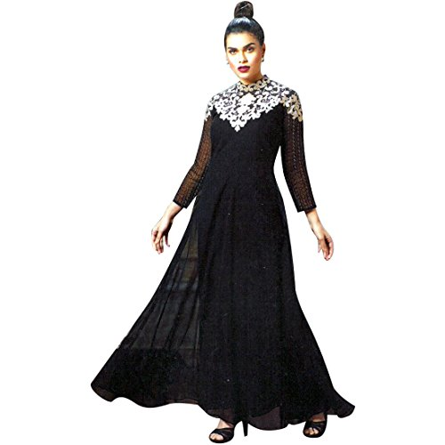 Designer Black Long Georgette Embroidered Partywear Kurti Top, Kurta, Evening Gown