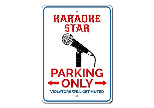Iliogine Karaoke Star Gift Karaoke Star Parking Sign Karaoke Lover Gift Outdoor Sign Gift Funny Metal Street Tin Sign Wall Art Decorative ()
