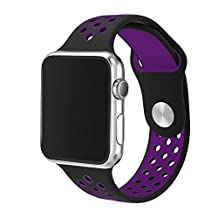 Gosuper®;Soft Silicone Replacement Sport Strap iWatch Band for Apple Watch 38mm and 42mm Series 1 and Series 2