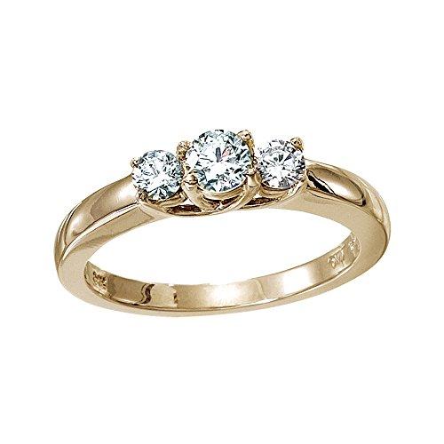 14k Yellow Gold 0.25 Ct Three Stone Trellis Diamond Ring (Size (0.25 Ct Three Stone)