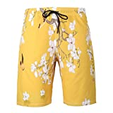 NUWFOR Men's Summer Fashion 3D Printed Shorts Recreational Sports Beach Pants(Yellow,US M Waist:34.25'')