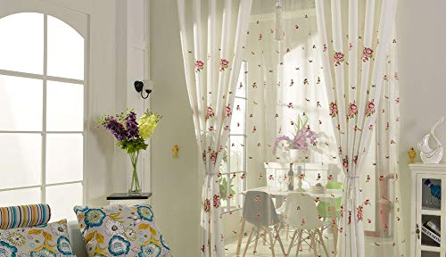 BW0057 Elegant Style Simplicity Rose Flower Embroidery Sheer Curtain Transparent Treatment Voile for Living&Kids Room Bedroom(1 Panel, W 50 x L 95 inch, White) 1980732C1BYJWH15095-6200