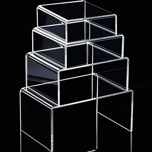 Chuangdi Clear Acrylic Display Risers, Jewelry Display Risers Showcase Fixtures, Tear Off The Protective Film Before Use(3.3, 4.1, 5, 5.7 Inch) ()
