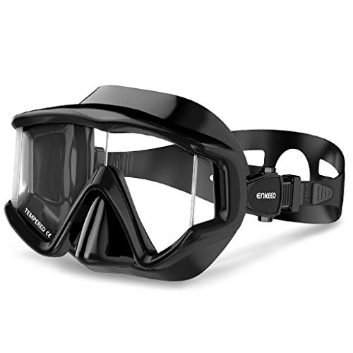 ENKEEO Dive Mask Wide 180 Degree Vision Snorkeling Lens for Adults and Children in Diving, Scuba and Swimming (Black) ()