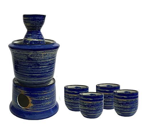 KCHAIN Ceramic Sake Warmer Set with 4pc Sake Cups, 1pc Sake Bottle, 1pc Warmer Pot, 1pc Heating Pot