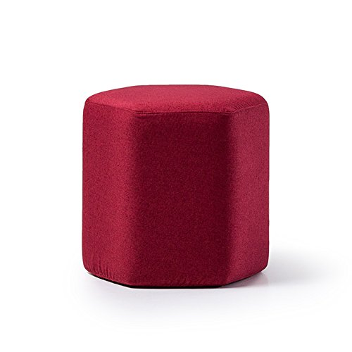 ZEMIN Ottomans Footstool Sofa Stool Chair Seat Table Backrest Soft Solid Wood Frame Storage, 7 Colors Available, 42x42x40CM (Color : Red)