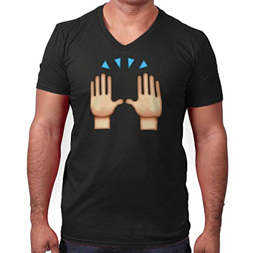 Hand Up Excited Praise Emoji Graphic Fun V-Neck T Shirt