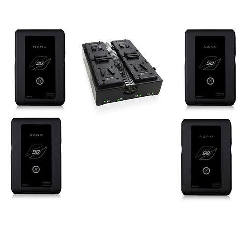 Core SWX 4 Pack Nano 6.6Ah Lithium Ion V-Mount Battery Brick with 4 LED Power Gauge (98 Wh, 14.8-Volts) - With FLEET-Q4S Four-Position Simultaneous V-Mount Charger by Core SWX