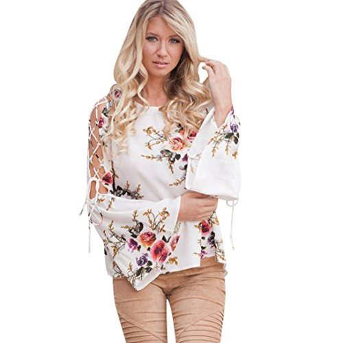 SMALLE ◕‿◕ Clearance,Women Floral Flare Sexy Cold Off Shoulder Long Sleeve Shirt Bandages Top Blouse
