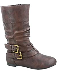 FZ-Sonny-54k Youth Girl's Fashion Low Heel Zipper Buckle Round Toe Riding Boot