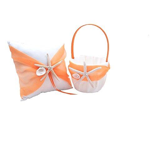 - Abbie Home Organza Bowknot Wedding Ring Pillow + Flower Basket Set Romantic Beach Wedding Party Favor-Orange