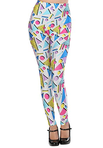 80s Triangles Geometric Pattern Leggings for Adults