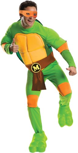 Ninja Costumes Adults (Rubie's Costume Men's Teenage Mutant Ninja Turtles Deluxe Adult Muscle Chest Michelangelo, Green, Standard)