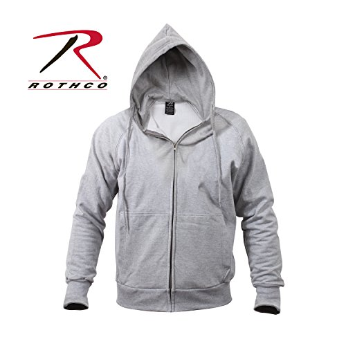 Rothco Thermal Lined Zipper Hoodie, Grey, X-Large Army Grey Hooded Pullover Sweatshirt