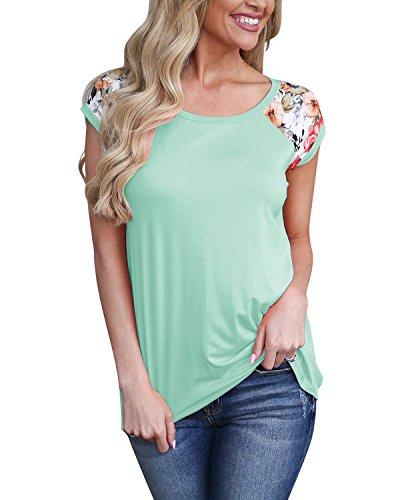 - GADEWAKE Womens Casual Floral Print Color Block Short Sleeve T Shirts Blouses Tops Green
