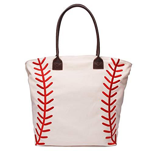 mright Large Women Baseball Mom Tote Bags Embroidery Vinyl Seams Canvas Casual Handbag (Embroidery Seams)