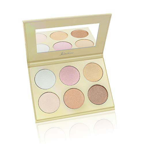 Beshine 6 Color Nude Highlighter Palette Kit Bronze Highlighter Contour Highlighter Powder Palette for All Skin Types (Gold)