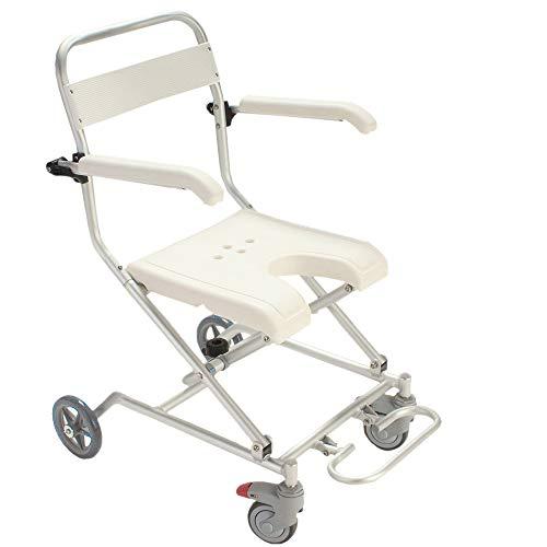 QETU Old Man with Wheel Bath Chair,Foldable Light Aluminum Alloy with Backrest Pregnant Women Bathroom Shower Bath Chair -