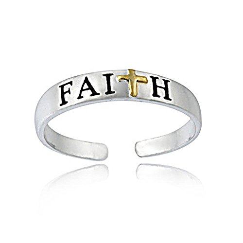 [Hoops & Loops Sterling Silver Two Tone Faith Toe Ring] (2 Tone Sterling Silver Ring)