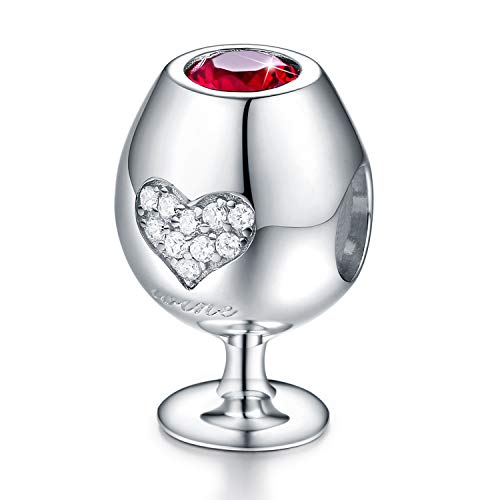- FOREVER QUEEN Love Heart Wine Glass Bead Charms fit for Pandora Snake Chain Bracelet, 925 Sterling Silver 5A CZ Ruby Bracelet Decorations Gift for Women Girls Lovers
