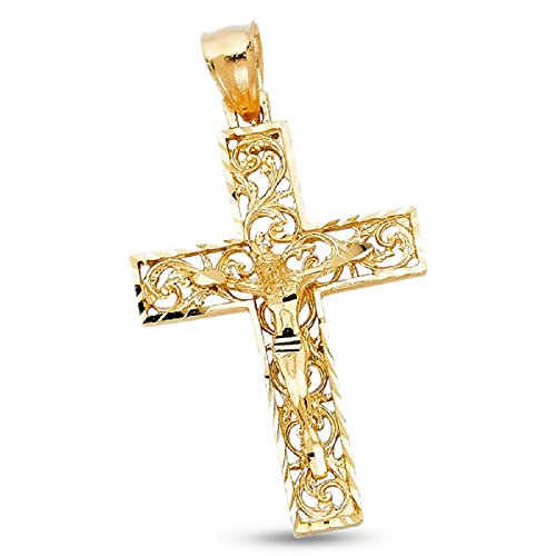 Solid 14k Yellow Gold Crucifix Filigree Grill Design Jesus Cross Pendant Mens Religious Style Charm Faith Jewelry 40 mm x 28 mm