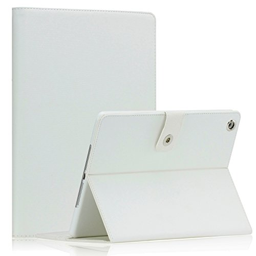 SAVEICON White Canvas Case Cover with Card Slots Auto Wake / Sleep Smart Cover Book Shell Stand for Apple New iPad Mini 7.9 Inch Wifi 3G 4G LTE with Built-in Stand (Built In 3g Tablet)
