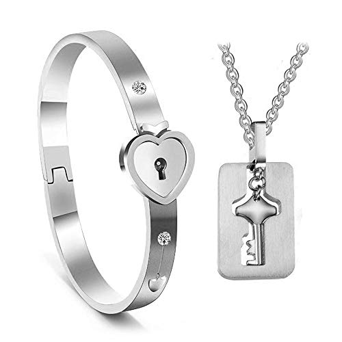 AOLVO His and Hers Matching Set, Titanium Key Pendants Necklace Heart Bangle Bracelet Prevent Allergy&Fade Couples Lock Jewelry Sets for Valentines Birthday Gifts Silver]()
