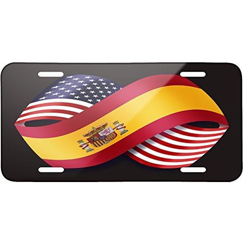 Friendship Flags USA and Spain Metal License Plate 6X12 Inch by Saniwa