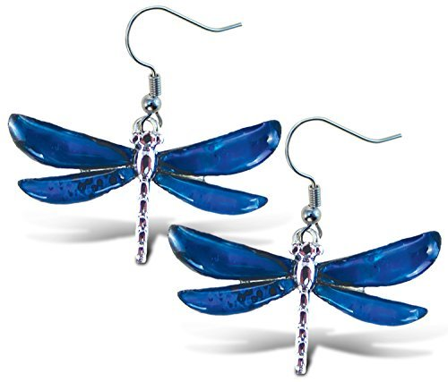 Puzzled Blue & Silver Dragonfly Dangle Post Fish Hook Drop Earrings, 1.35 Inch Fashionable Sparkling Elegant Jewelry with Genuine New Zealand Paua Shell Insect Themed Fashion Ear Accessory (2 Pcs)