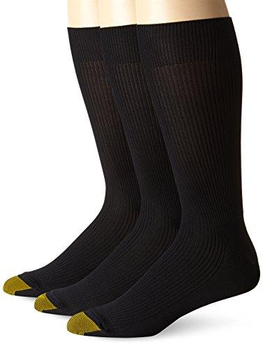 Gold Toe Men's Manhattan 3 Pack, Black, 10-13 (Shoe Size 6-12.5)