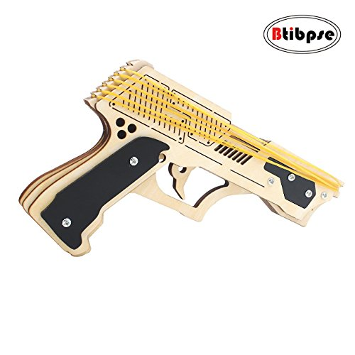 Btibpse 3d Wooden Puzzle Gun Toy for Kids Rubber Band Gun Mechanical (Make Wooden Toy Gun)