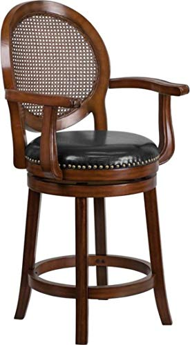 (MPR 30'' High Expresso Wood Barstool with Arms and Black Leather Swivel Seat)