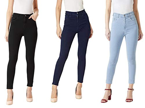 HOVAC Fashionable Fasion Skinny Fit Women Jeans Combo Pack of 3 – Ice Blue,Black and Navy Blue