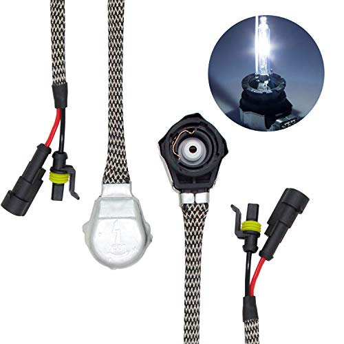 DZG D2 Metal Socket Adapter Connector Wire Wiring Harness Converter for Ballasts HID D2R D2S D2C Bulbs, 2 Pack