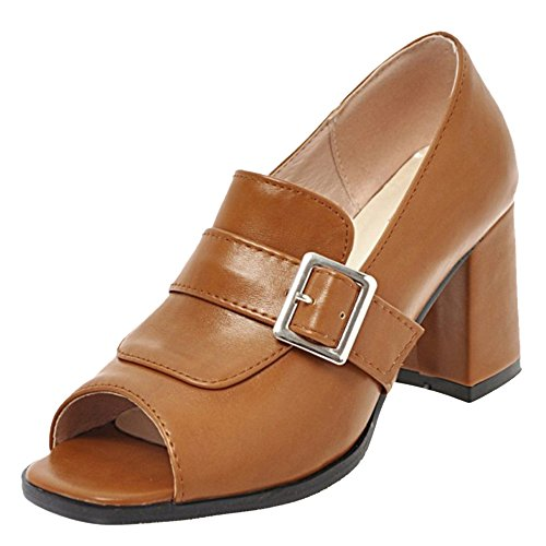Peep Toe Brown Women Pumps FANIMILA UOw4xW