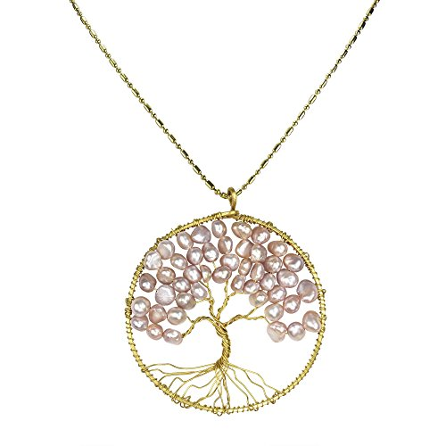 - Cultured Freshwater Pearls (Pink Dyed) Eternal Tree of Life Brass Long Necklace Medallion Set