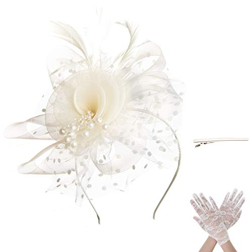 SAFERIN Fascinators for Women, Bridal Derby Hat Tea Party Flower Hats Girls Feather Sinamay Fascinators with Headbands with Lace Glove (TA7-Beige with Glove)]()