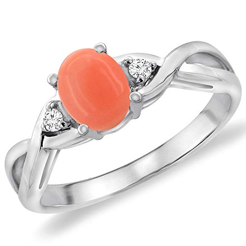 14K White Gold Diamond Natural Coral Infinity Engagement Ring Oval 7x5 mm, size 9.5