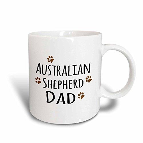 Australian Shepherd Mug Dog - 3dRose 153852_2 Australian Shepherd Dog Dad Mug, 15 oz, Ceramic