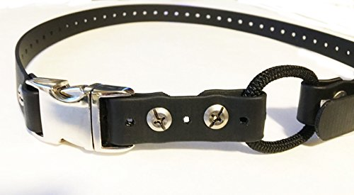 3-4-black-quick-snap-metal-buckle-biothane-dog-bungee-replacement-strap-33-inches-black
