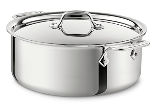 All-Clad 4506 Stainless Steel Tri-Ply Bonded Dishwasher Safe Stockpot with Lid / Cookware, 6-Quart, Silver ()